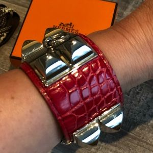Red Alligator HERMÈS Collier de Chien Palladium